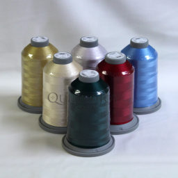 Glide Thread Christmas Colors Pack, with Glide Christmas Pine, Glide Cranberry, Glide Latte, Glide Azure, Glide Bone, and Glide Sand