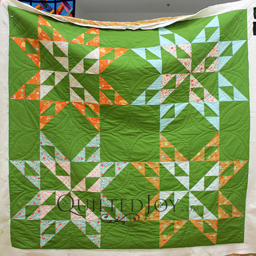 Free Motion Quilting on Erin's Big Star Quilt