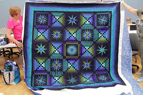 Jennifer's Moon Glow Quilt after renting the longarm quilting machine at Quilted Joy