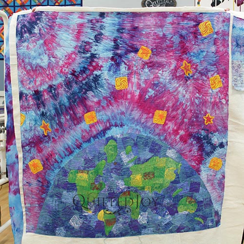 Free Motion quilting is fun on a fabric dyed wholecloth quilt
