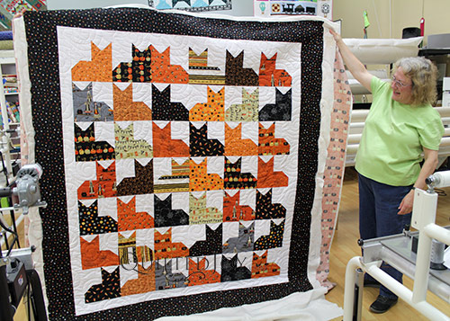 Pins and Paws Quilt with Halloween Fabrics