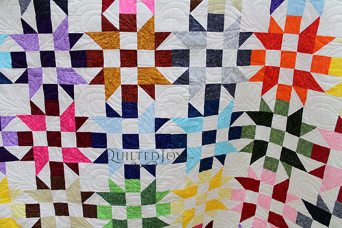 Close up of Valerie's Bright Stars Quilt