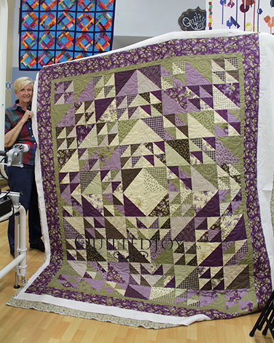 Beverly's Half Square Triangle Quilt, longarm quilted at Quilted Joy