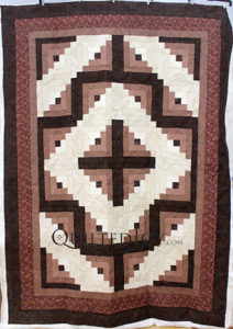 Chocolate Vanilla Swirl Log Cabin Quilt by Imogene, Longarm Quilting by Quilted Joy
