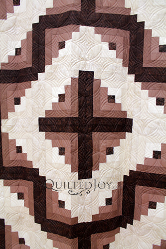 Imogene's Chocolate Vanilla Swirl Log Cabin Quilt, longarm quilting by Quilted Joy