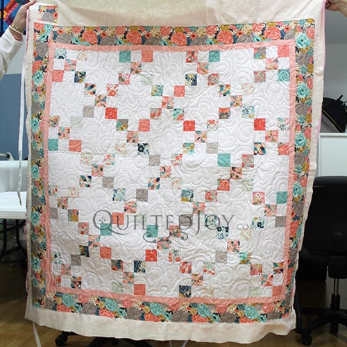 Valerie's Irish Chain Quilt after her Longarm Quilting Machine Rental at Quilted Joy