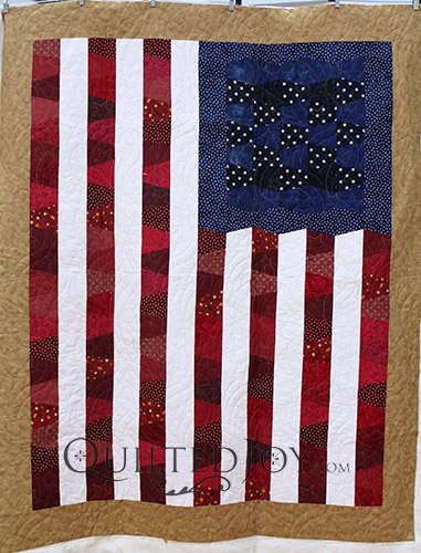 Cheri's Star Spangled Banner Tumbler Block Quilt, longarm quilted by Angela Huffman