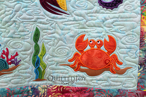Ocean Odyssey Sea Creatures Quilt by Kimberly, quilting by Angela Huffman of Quilted Joy