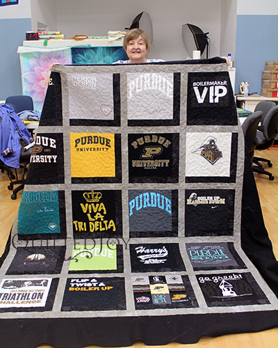 Purdue University Tshirt Quilt after Longarm Quilting Machine Rental