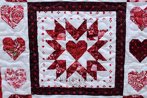 Colleen's Hearts Quilt after her longarm machine rental at Quilted Joy