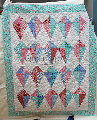 Colleen's Kite Quilt after her Longarm Machine rental at Quilted Joy