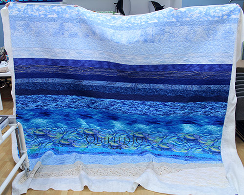 Layna's Beach Quilt after longarm quilting at Quilted Joy
