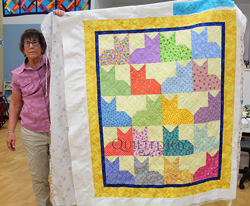 Debbie's Cats Quilt after longarm quilting at Quilted Joy
