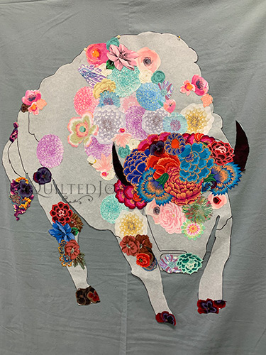 White Buffalo Fabric Collage Quilt in progress