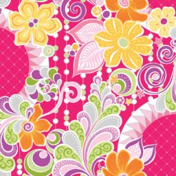 Free Motion Fantasy Hot Pink Fabric 5440B-02