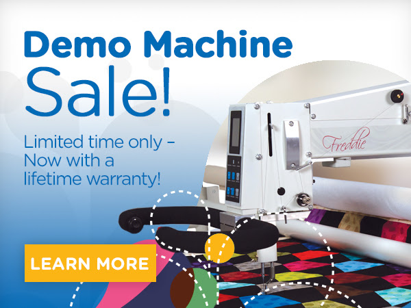 """""""APQS Demo Longarm Machine Sale! Limited Time Only - Now with a lifetime Warranty Learn More"""""""