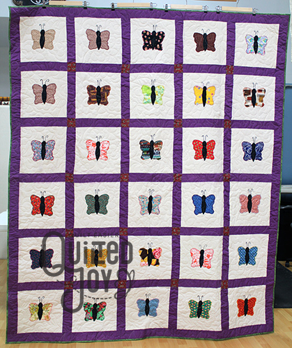 Melanie's Butterfly quilt, with longarm quilting by Quilted Joy