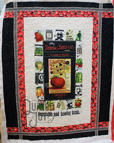 Peggy's Seeds II panel after renting an APQS longarm quilting machine at Quilted Joy