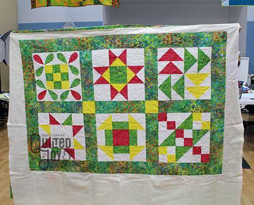Darcy's Sampler quilt after longarm quilting at Quilted Joy