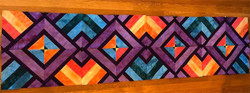Pat's Hand Dyed Table Runner Quilt Top